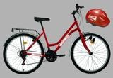 400 x set format din: o bicicleta marca DHS prevazuta cu cos metalic + o casca de protectie pentru ciclism + cotiere + genunchiere + tricou de ciclist