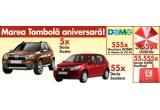 5 x autoturism Dacia Duster, 55 x autoturism Dacia Sandero, 555 x voucher in valoare de 555 lei pentru cumparaturi din magazinele DOMO, 5.555 x umbrela, 55.555 x sacosa