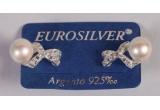 o pereche de cercei din argint cu perle si pietre Swarovski