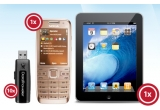 un Apple iPad 32GB WiFi 3G, un telefon mobil Nokia E52 gold, 10 x memorie externa Kingston DataTraveler 100 4GB