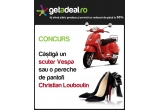 o pereche de pantofi Christian Louboutin, un scuter Vespa