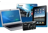 un iPad, o camera foto Nikon, un laptop Sony Vaio