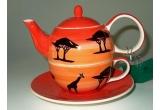 1 x set ceainic Tea For One Africa + 2 sortimente de ceai (verde Gunpowder 100g si fructe Bora Bora 100g), 1 x set 2 sortimente de ceai (ceai rosu Red Cherry si negru Earl Grey Superior)