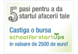 2 x bursa School for Startups in valoare de 2500 de euro