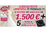 1 x rochie de mireasa (1500 euro), 5 x set de bujuterii cu pietre Swarovski