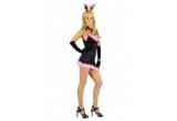 costum Playboy Bunny, arc si sageata + palarie Fedora + fetru roz + catuse metal cu chei, un set de bratari si coliere fosforescente