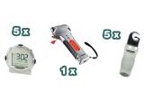 5 x water bottle, 5 x digital travel alarm clock, 1 x 9-in-1 car escape tool