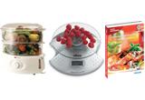 <b>Un aparat de gatit cu aburi (steamer) si un exemplar din Ghidul gastronomic al Romaniei sau uncantar de bucatarie electronic si un exemplar din Ghidul gastronomic al Romaniei. </b>