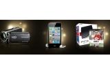 1 x Ipod Touch 4G 64 GB, 1 x Consola jocuri PlayStation3 + joc FIFA 11 PS3, 1 x Camera video HD Sony