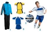 1 x trening Stil Authentic Ciel / Negru / Alb marca HUMMEL, 1 x echipament de Fotbal (tricou + short + jambiere) ADIDAS Autheno Alb / Albastru, 1 x minge de fotbal originala Erima Attack 2.0, 2 x chipament de joc tricou + short