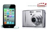 1 x pachet cu camera foto Benq C1450 + card 4GB, 1 x iPod Touch 8GB