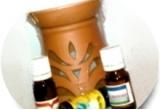 un set de aromoterapie cu lampa + 3 uleiuri esentiale