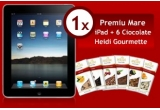 210 x set tricou + 6 ciocolate Heidi Gorumette, 6 x set iPod Touch + 6 ciocolate Heidi Gourmette, 1 x set iPad + 6 ciocolate Heidi Gourmette