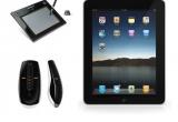1 x tableta grafica Genius G-Pen M609X, 1 x tableta grafica Genius G-Pen M609X + mouse Logitech MX Air Wireless, 1 x iPad WiFi + mouse Mogitech Wireless, 4 x set promotional cu sapca + tricou