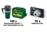 10 x aparat foto digital Samsung ST65, 100 x sandwich bag (2 pachete de cafea prajita si macinata Jacobs Kronung de 250g + gentuta pentru gustari) + cana termica