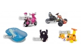 1 x Scooter Motorbike Duo Girl 6V-Injusa, 1 x  Kart electric cu telecomanda, 1 x Cadita Onda Cu Suport Metalic, 1 x Marsupiu Frontal Inglesina, 1 x Jucarie Educativa Girafe Storage Rider