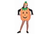 1 x costum copil dovleac, 1 x Cosulet pentru dulciuri Halloween in forma de Dovleac + Matura Vrajitoarei maro & negru 4 piese, 1 x Decor Fantoma suspendata + Schelet fosforescent