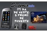 1 x telefon Samsung B3410, 1 x cazare pentru 2 la Perla Bucovinei , 1 x Casti JVC wireless + Suport rotativ pentru laptop, 1 x Ceas binar OVO oferit de www.ceasuri-outlet.ro, 1 x Voucher in valoare de 100 RON oferit de  www.originals.ro