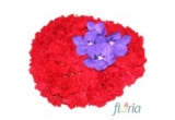 1 x aranjament unic cu 99 garoafe rosii si 4 cupe orhidee vanda mov