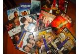 12 x DVD cu filme, 5 x carti, 3 x CD cu muzica, 3 x produs cosmetic