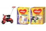 1 x o tricicleta + un set de produse Milupa, 9 x set de produse Milupa
