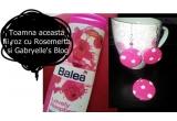 1 x un gel de dus Balea cu zmeura + un set de bijuterii handmade (cercei+medalion) roz cu bulinute