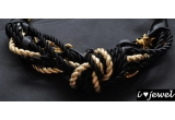 1 x Colier din lant auriu, snur auriu/negru si panglica neagra