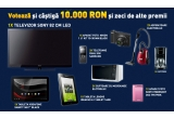 1 x 10.000 lei, 1 x televizor Sony LED, 2 x ceas digital cu proiector, 3 x plasma Samsung, 1 x aparat foto NIKON, 1 x tableta Lenovo, 5 x  cafetiera, 3 x telefon dual sim, 2 x cuptor cu microunde, 6 x aspirator, 1 x aparat Foto Sony, 1 x tableta Smart, 2 x Ceas digital, 1 x tableta Samsung, 1 x aparat foto, 1 x tableta