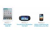 1 x un Ipad 2 Apple 16Gb 3G, 1 x o consola Sony PlayStation vita Wifi, 1 x un telefon Samsung S7500 Galaxy Ace Plus