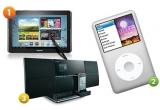 1 x tableta Samsung Galaxy Note N8000 10.1, 1 x  iPod Classic 160GB argintiu, 1 x sistem audio wireless Pioneer X-SMC3-K/S