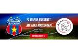 5 x bilete duble la meciul Steaua - Ajax, 5 x set de tricou + sapca ale echipei Ajax