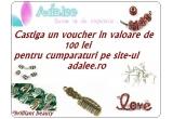 1 x un voucher de 100 ron pentru cumparaturi pe adalee.ro