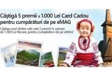 5 x 1.000 lei Card Cadou pentru cumparaturi de pe eMAG