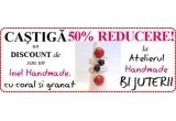 1 x cupon discount de 50% sau un inel handmade cu coral si granat
