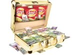 569.524 x bancnota de 1 ron, 40.000 x bancnota de 5 ron, 9.524 x bancnota de 10 ron, 1.905 x bancnota de 50 ron, 200 x bancnota de 100 ron, 50 x bancnota de 200 ron, 20 x bancnota de 500 ron, 35 x valiza Lay's cu 10.000 ron