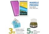 1 x tableta UTOK 700Q Satin, 1 x  pachet cu 3 vouchere Douglas de 50 de lei fiecare, 5 x sticla de sampanie Martini, 26 x voucher cu reducere de 5% pentru orice achizitie de smartphone sau tableta de pe site-ul utok.com