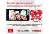 1 x sejur de o saptamana la New York, 6 x smartphone Huawei Ascend P6, coduri promotionale constand in vouchere de reducere pe site-ul vodafone.ro