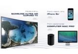 42 x iPhone 5S, 6 x sistem desktop Apple Mac Pro, 1 x televizor Samsung Ultra HD Curved TV