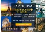 1 x city break intr-un oras din Europa (Praga/ Viena/ Roma/ Barcelona/ Madrid etc), 30 x voucher cu reducere de 10% pentru cumparaturi pe 4interior.ro, 3 x voucher cu reducere de 20% pentru cumparaturi pe 4interior.ro