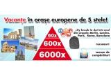 60 x city break in doi la Berlin/ Londra/ Paris/ Roma/ Barcelona, 600 x rucsac Kaufland, 6.000 x sacosa de cumparaturi