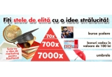70 x bursa scolara de 5000 lei, 700 x voucher Kaufland de 100 ron, 7.000 x umbrela Kaufland