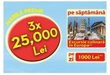 3 x 25.000 lei, 56 x 1.000 lei, 8 x vacanta in Europa (Italia - Pisa/ Franța - Paris/ Grecia - Atena/ Spania - Barcelona)