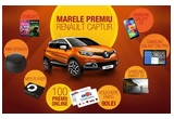 1 x masina Renault Captur,  132 x pachet Doncafe care contin: pachet cafea Brazil 250 gr. + pachet cafea Doncafe Selected 250 gr., 99 x MP3 Player, 99 x Mini Speaker, 2 x smartphone Samsung Galaxy S5, 2 x tableta Samsung Galaxy Tab Pro, 3 x televizor Samsung Smart TV 100 x voucher eMAG in valoare de 90 lei