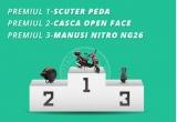 1 x scuter Peda, 1 x Casca Open Face, 1 x Manusi Nitro NG26