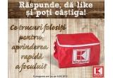 10 x bon de cumparaturi Kaufland de 100 ron, 10 x rucsac personalizat cu logo-ul Kaufland, 40 x geanta termoizolanta personalizata cu logo-ul Kaufland