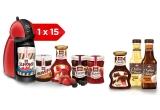 15 x expresor Nescafe, 13 x cos cu produse Schwartau, 39 x set de cafea cu mixer