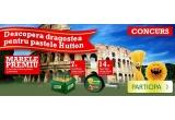 1 x excursie la Roma pentru doua persoane + 300 euro bani de buzunar, 70 x tigaie Tefal Jamie Oliver de 24 cm, 35 x paste Hutton (17 forme diferite) in greutate totala de cca 8 kg