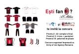 1 x kitul complet oficial cu insemnele formatiei A.C. Milan, 1 x tricou + pantaloni cu insemnele formatiei A.C. Milan, 1 x pelerina de ploaie cu insemnele formatiei A.C. Milan