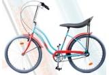 1 x bicicleta La Parisienne + accesoriu sonerie vintage rosu + accesoriu oglinda crom + accesoriu cos din rachita