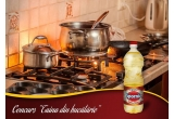 40 x bax de ulei (6 sticle) Spornic La Foc Mare, 30 x șorț personalizat cu numele tau, 6 x cratița wok cu capac marca Tefal City Cook 24 cm